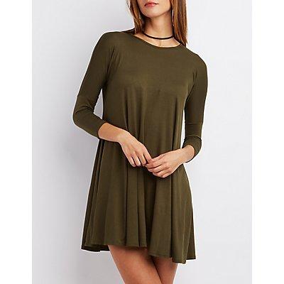 Dropped Shoulder Trapeze Shift Dress