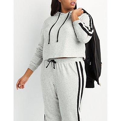 Plus Size Varsity Stripe Cropped Hoodie
