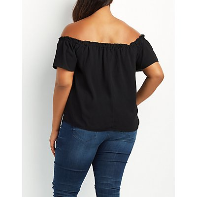 Plus Size Fluttery Off-The-Shoulder Top