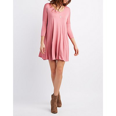 Dolman Sleeve Swing Dress