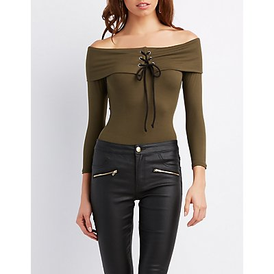 Off-The-Shoulder Lace-Up Top