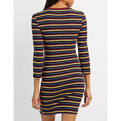 Striped Crew Neck Bodycon Dress