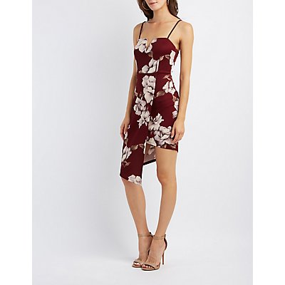 Floral Asymmetrical Bodycon Dress