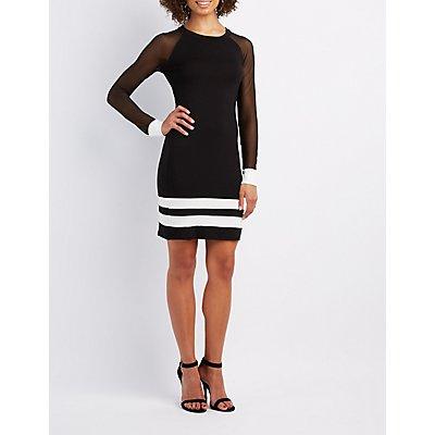 Varsity Stripe Mesh-Sleeve Bodycon Dress