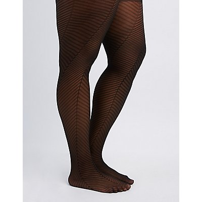Plus Size Herringbone Tights