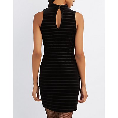 Striped Velvet Cut-Out Mock Neck Dress