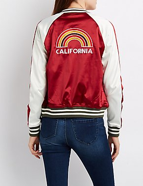 California Striped Colorblock Bomber Jacket