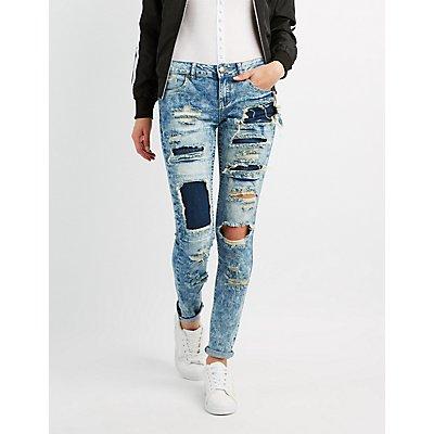 Destroyed Acid Wash Skinny Jeans