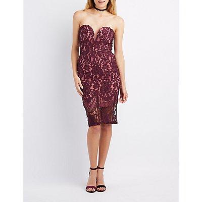 Lace Strapless Bodycon Midi Dress