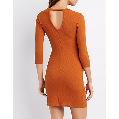 Ribbed Keyhole Bodycon Dress