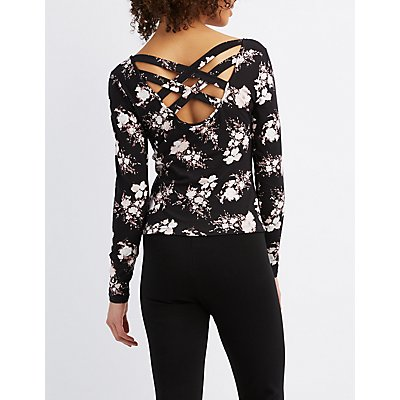 Floral Lattice-Back Crop Top