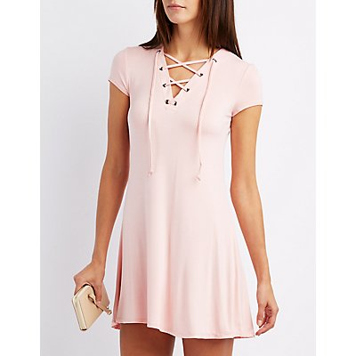 Lace-Up Trapeze Shift Dress