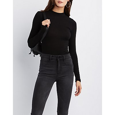 Mock Neck Fitted Top