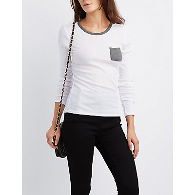 Ribbed Ringer Pocket Tee