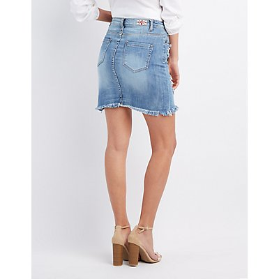 Machine Jeans Distressed Denim Pencil Skirt