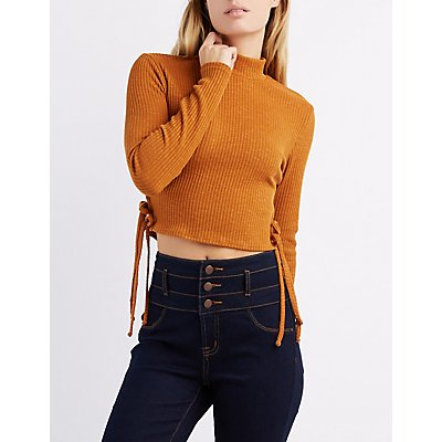 Mock Neck Tied-Sides Crop Top