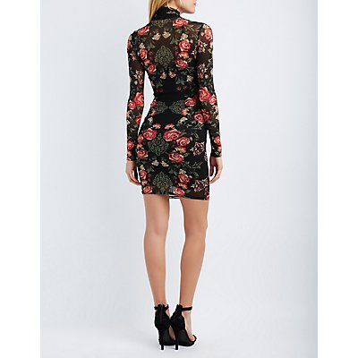 Floral Mesh Bodycon Dress