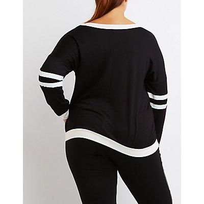 Plus Size Varsity Stripe Sweatshirt