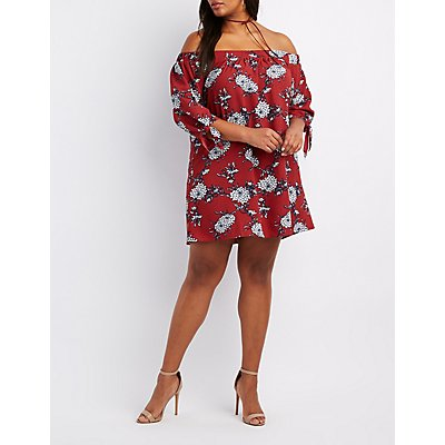 Plus Size Floral Off-The-Shoulder Shift Dress