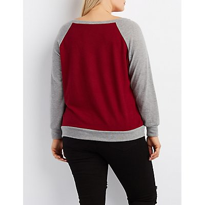 Plus Size Graphic Raglan Pullover Sweatshirt