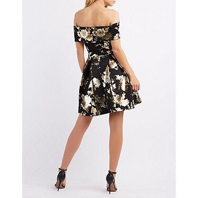 Floral Off-The-Shoulder Skater Dress