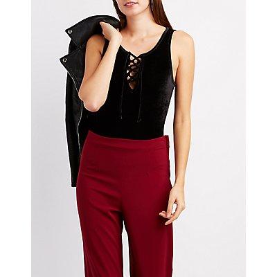 Velvet Lace-Up Bodysuit