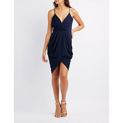 Surplice Draped Cocoon Dress