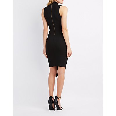 Mesh-Trim Asymmetrical Dress