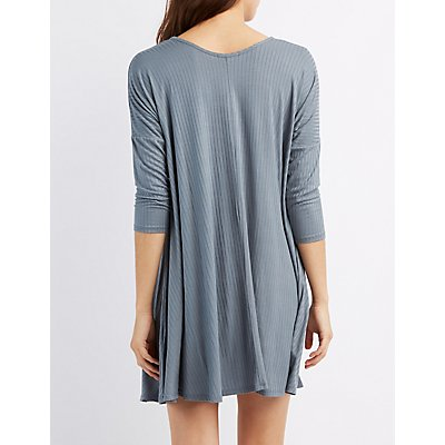 Ribbed Dolman Swing Dress