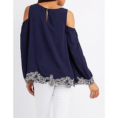 Embroidered Cold Shoulder Blouse