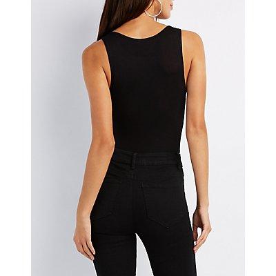 Plunging Lattice-Inset Bodysuit