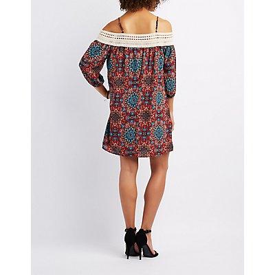Printed Crochet-Trim Cold Shoulder Dress