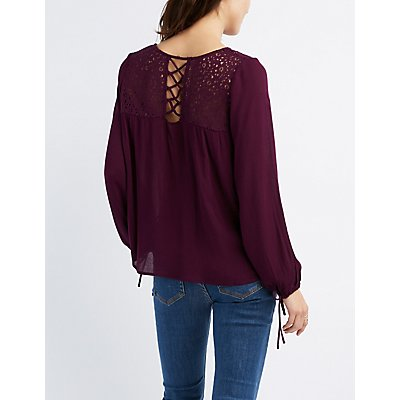 Crochet Yoke Lattice-Trim Blouse