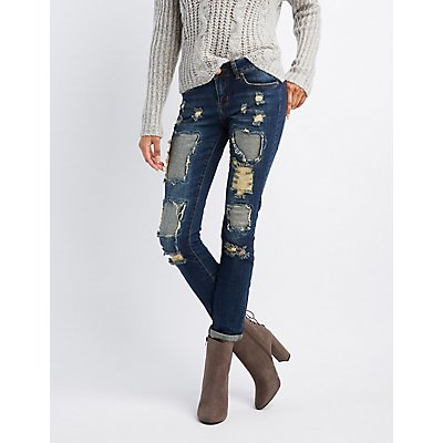 Destroyed Patchwork Skinny Jeans