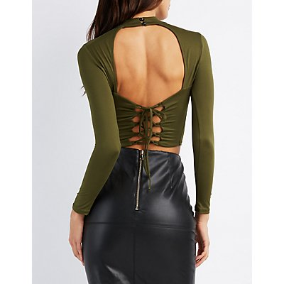 Mock Neck Lace-Up Back Crop Top