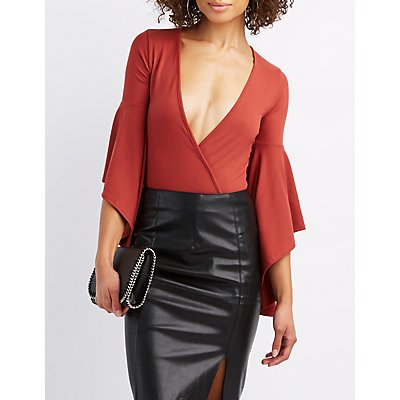 Surplice Bell Sleeve Bodysuit