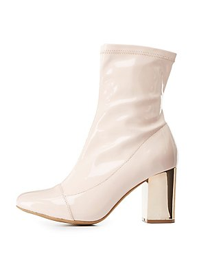 Cap Toe Metallic Heel Booties