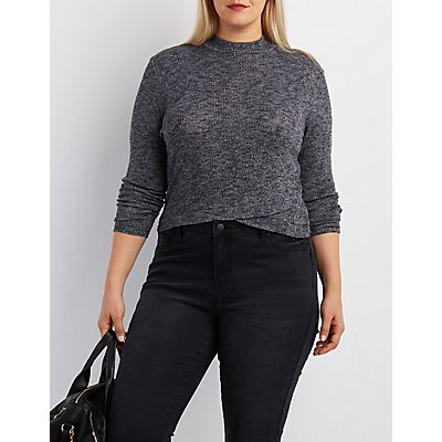 Plus Size Ribbed Wrap-Front Crop Top