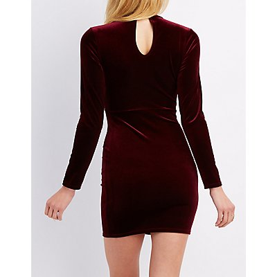 Velvet Mock Neck Cut-Out Dress