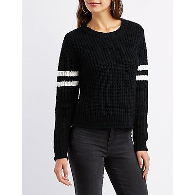 Shaker Stitch Varsity Stripe Sweater