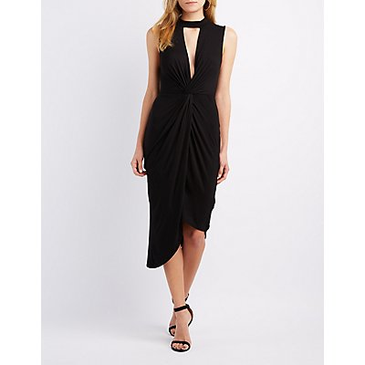 Mock Neck Knotted Asymmetrical Dress