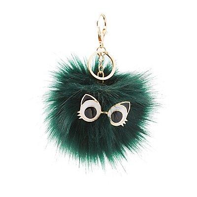 Cat Eyes Faux Fur Ball Keychain