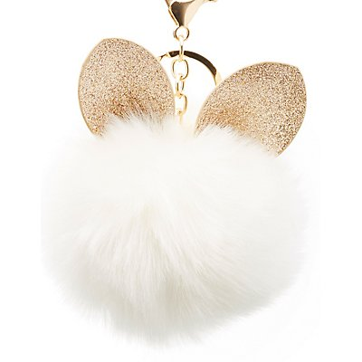 Faux Fur Ball Bunny Keychain