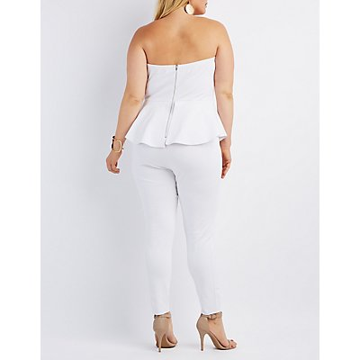 Plus Size Strapless Peplum Jumpsuit