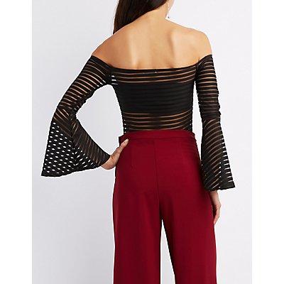 Shadow Stripe Off-The-Shoulder Bodysuit