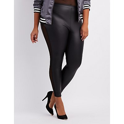 Plus Size Mesh-Trim Liquid Leggings