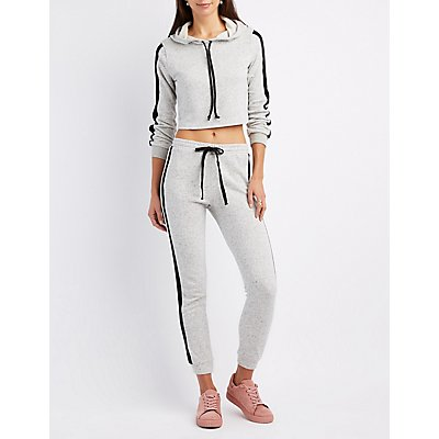 Varsity Stripe French Terry Cropped Hoodie