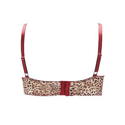 Plus Size Caged Lace-Trim Leopard Print Bra