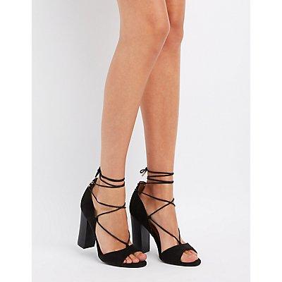 Bamboo Lace-Up Peep Toe Heels