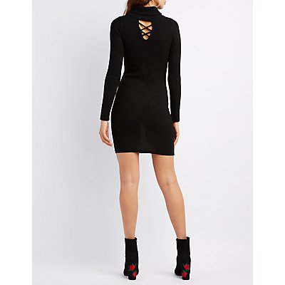 Ribbed Turtleneck Lattice-Front Dress